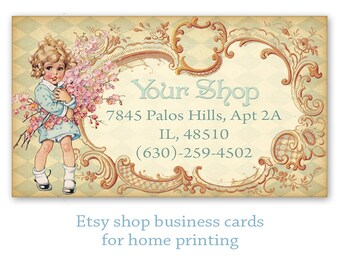 Vintage girl Business cards on Digital collage sheet Printable download Printable personalized business cards - GIRLY CARDS