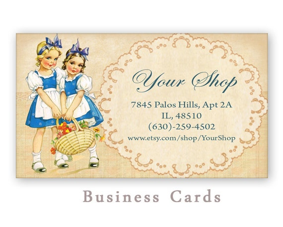 Printable business cards for Etsy shop Digital collage sheet