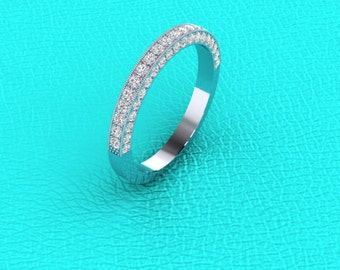 14K white gold 3 Dimension pave' band
