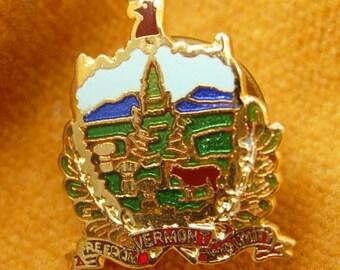 Freedom Unity Vermont Enamel Tie Tack Lapel Pin Vintage Tourist Ballou Regd Birthday
