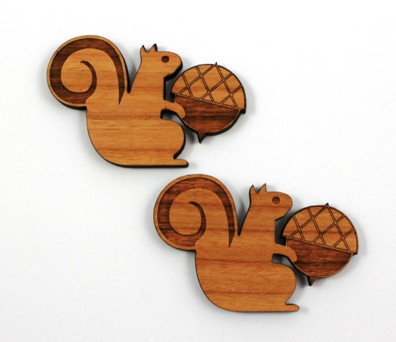 Laser Cut Supplies-1 Piece.Squirrel & Acorn Charms-Cherry Wood Laser Cut Woodland-Brooch Supplies-Little Laser Lab Sustainable Wood Products