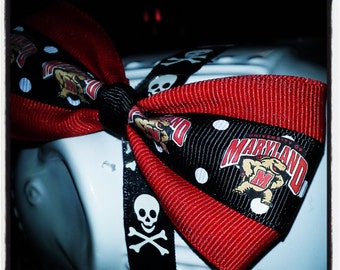 Fear the Turtle: University of Maryland Testudo the Terp Hair Bow Red with Black and White Dot Center Stripe