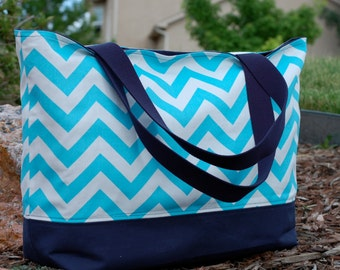 Aqua Chevron with Navy Tote Bag