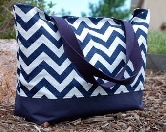 Navy Chevron Tote Bag, Navy Zig Zag Tote Bag