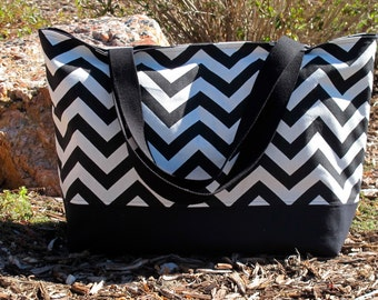 Black Chevron Tote Bag