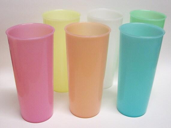 Vintage Tupperware 12oz Tumblers Glasses Pastel Colors Set Of