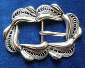 Metal buckle, Art Deco, metal filigree in a swirling, flowing design.  c late 1930's to early 40's.