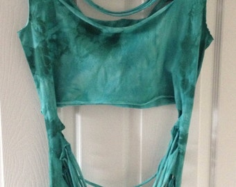 Teal Turquoise Dyed Shredded Ripped long tshirt crop top