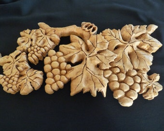 Organic Hand Carved Grapes And Leaves,wooden sculpture,wall art, original gift