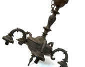 Antique Victorian Rare Cast Iron Mold Chandelier