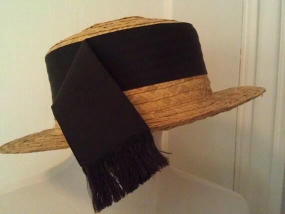 vintage straw hat edwardian era boater by