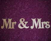 Mr & Mrs Wedding Decoration Sign Unfinished Wood Paintable Stainable Plaque