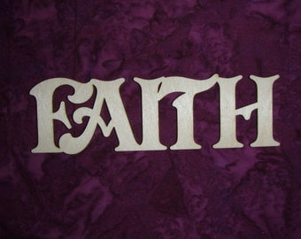 Faith Word Unfinished Wood Cut Out Connected Wooden Letters