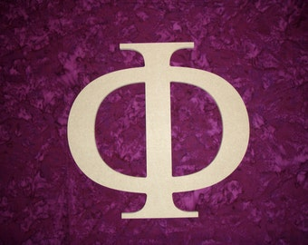 greek letter phi symbol unfinished wooden letters 6 inch tall mdf paintable