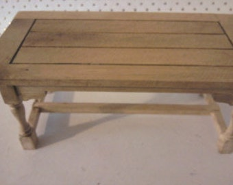 Doll house table in Oak with  1 12th scale miniature table