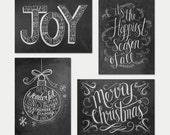 Assorted Boxed Set Of 8 Christmas Cards - Chalkboard Cards - Christmas Greeting Card Set - Christmas Chalkboard - Hand Lettered Cards