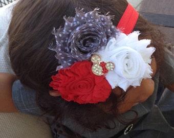 Shabby Chiffon Flower with a Mouse Rhinestone Jewel, Baby Girl Headband, Infant Girl Headband, Newborn Girl Headband