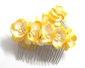 Bright Yellow Cherry Blossom Floral Hair Comb Set of Two Bridal Flower Accessory