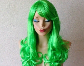 Lime green wig. Green hair wig. Lime green color wig. Cosplay wig. Lolita wig. Costume wig.
