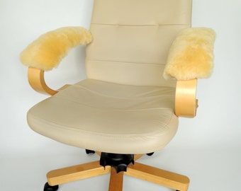 Genuine Medical Sheepskin Armrest Cover Pad for Office Chair - Wheelchair - Scooter