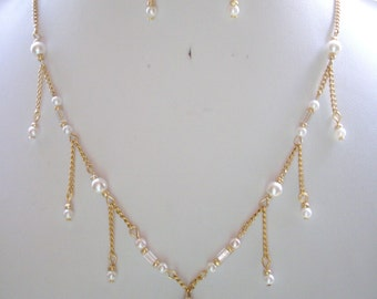 SALE Gold Pearl and Rhinestone Oval Vintage Pendant, Pearls, Clear Glass and Gold Bead Necklace and Earrings