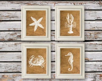 Burlap and White Coastal Beach Set, Modern Art Prints, Instant Download