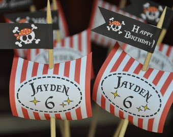 Pirate Party pdf printable PERSONALIZED cupcake toppers / buffet table sails and flags
