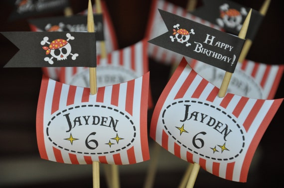 Pirate Party Pdf Printable Personalized Cupcake Toppers
