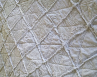 Delicate white on white queen size rag Quilt