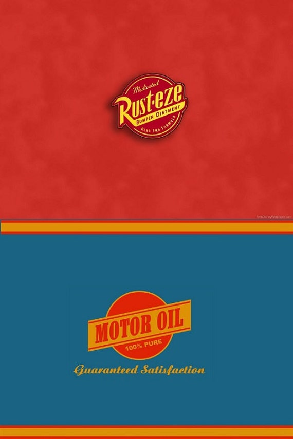 Disney cars birthday juice labels rusteze and dinoco for Which motor oil for my car