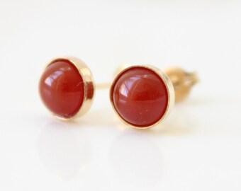 Carnelian Stud Earrings | Gold post earrings set with carnelian gemstones | Gifts for her