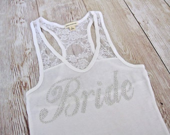 Bride Tank Top Shirt. Half Lace. Bridesmaid, Maid of Honor, Matron of Honor. Bridal Party Rhinestone Shirts. Bachelorette Party Tank Tops