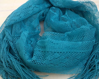 Long Scarf Turquoise Lace Scarf with Fringe Indian Scarf Fashion Scarf LSF0