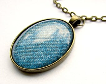 Fall Jewelry, Necklace, Blue Pendant, Blue Jean Jewelry, Oval Pendant, Antique Bronze Jewelry, Vintage Inspired, Necklace