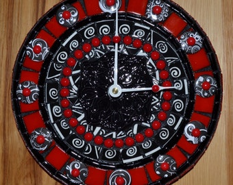 Black, Red, and White Op Art Mosaic Clock