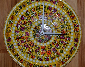 Bright Yellow Floral Round Mosaic Clock