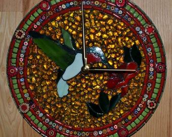 "11"" Round Green & Gold Hummingbird Mosaic Clock"