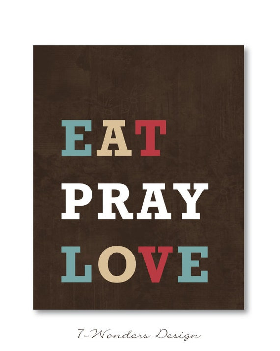 Items similar to kitchen wall art print eat pray love 8 quot x 10