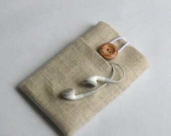 iPhone 4 / 4s Case, Mobile Phone Padded Cover - Front pocket - SUPERIOR Shock Absorbent Padding - PURE LINEN