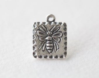 Sterling Silver Square Sweet Honey Bee Tag Charm - 925 lightly oxidized silver bee pendant