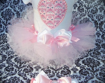 custom made 3pc Pink Damask Heart with pearl beads short sleeve tutu set infant size 6m with matching bottlecap hairbow