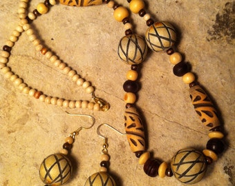 Brown & Tan Tribal Bead necklace and earring  set