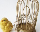 Vintage Gold Metallic Miniature Bird Cage Home Decor