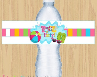 Instant Download DIY Pool Party Collection: Water Bottle Label -Digital File-Baby Shower -Birthday -Summer