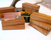 Ten wood business card holders, custom made from roasted curly maple.