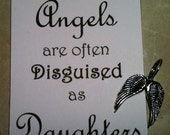 Angels Are Often Disguised as Daughters Key Chain Charm You Personalize Wedding Birthday Gift Keepsake