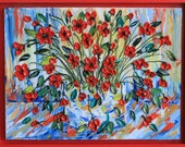 Love Story full of Poppies - Abstract Impasto Painting - This piece is 30x40 and Framed in Red - Item #24