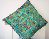 "Beautiful Decorative Throw Pillow, Cushion Cover, Pillow Throw in a multicolored cotton batik on a green background..  Size 18"" x 18"""