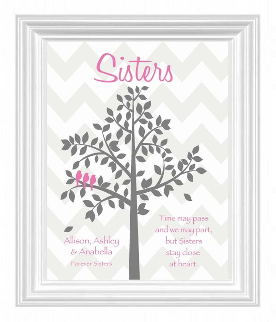 SISTERS personalized gift - CHEVRON print - Wedding Gift for Sister ...