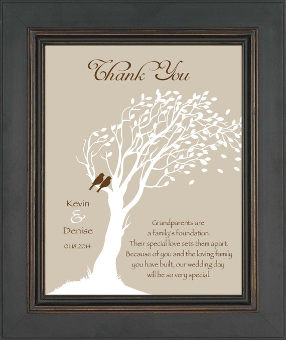 Wedding Gifts For Parents And Grandparents : GRANDPARENTS Wedding Gift from Bride & Groom - Thank you Wedding Gift ...